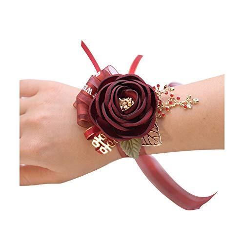 Art Flower Pulsera de cuentas Boutonnieres de color burdeos para novio de boda, ramillete de muñeca, flores para novia, dama de honor, dama de honor, cintura de color burdeos