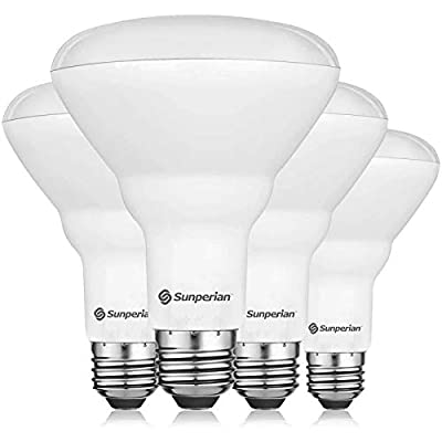 Sunperian BR30 LED Bulb, 8.5W=65W, 3500K Natural White, 800 Lumens, Dimmable Flood Light Bulbs for Recessed Cans, Enclosed Fixture Rated, Damp Rated, UL Listed, E26 Standard Base (4 Pack)