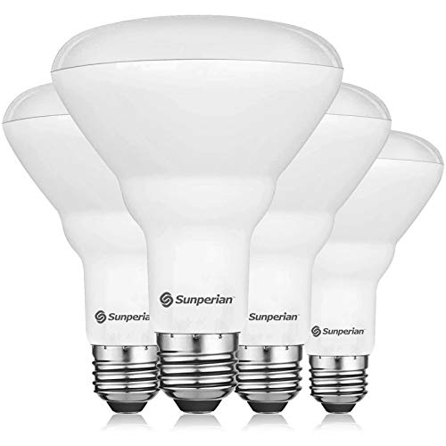 Sunperian BR30 LED Bulb, 8.5W=65W, 6500K Ultra Daylight, 800 Lumens, Dimmable Flood Light Bulbs for Recessed Cans, Enclosed Fixture Rated, Damp Rated, UL Listed, E26 Standard Base (4 Pack)