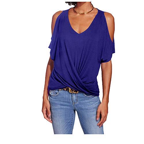 Camiseta de manga corta para mujer con hombros descubiertos, sexy, manga corta, irregular, para primavera y verano