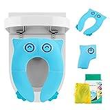 LEADSTAR Asiento de Inodoro para Niños, Plegable Tapa WC Orinal Bebe Reductor Compacto y Portátil Protector Inodoro para Viajes (Azul)