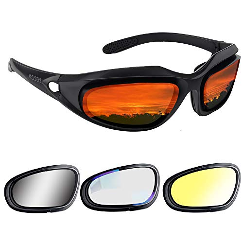X-TPSON Polarized Motorcycle Riding Glasses Kit with 4 Lens for Outdoor Activity,Safety Glasses,Motorcycle Goggles,Cycling Glasses,Motorcycle Sunglasses for Men & Women