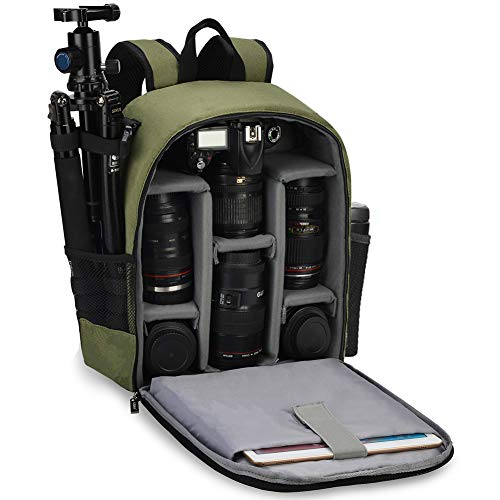 CADeN Camera Backpack Bag Professional for DSLR/SLR Mirrorless Camera Waterproof Camera Case Compatible for Sony Canon Nikon Camera and Lens Tripod Accessories Green