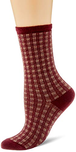 ESPRIT Damen Socken Checks - Baumwollmischung, 1 Paar, Rot (Bordeaux 8100), Größe: 35-38