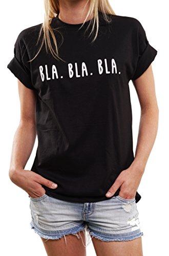 Lustige Geschenke für Frauen - BLA BLA BLA - Oversize Shirt Damen schwarz große Größen M