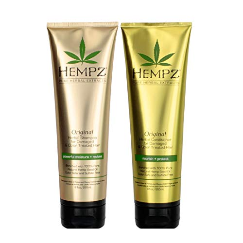 Hempz Pure Herbal Extracts Original Herbal Shampoo & Conditioner 9oz Bundle for Color Treated and Damaged Hair