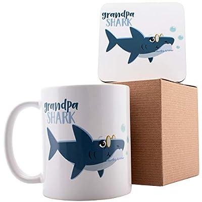 "Personalized Shark Family Grandpa Shark Coffee Mugs - 11oz Ceramic Mugs - Birthday Gifts, Mother""s Day Gifts, Fathers Day Gifts, Christmas Gifts"