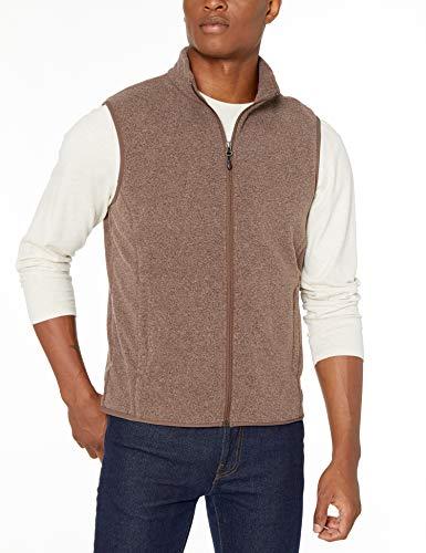 Amazon Essentials Herren Fleece-Weste mit durchgehendem Reißverschluss, Dark Brown Heather, M