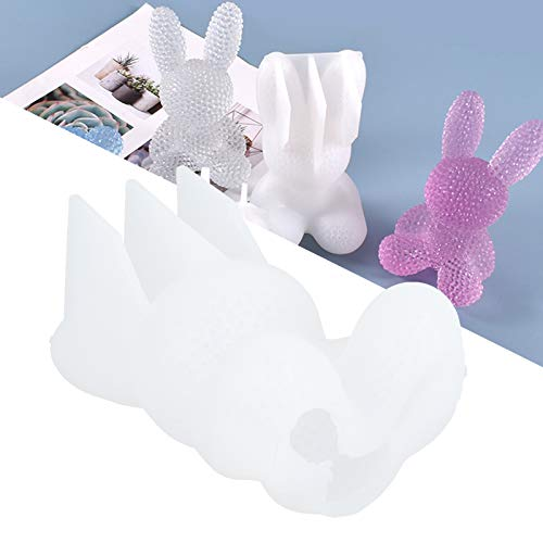 Zopsc-1 Molde de Forma de Conejito, Molde de Silicona de Conejo de Alta Elasticidad de Silicona, Forma de Animal Reutilizable Linda Blanca para Amigos, Familia