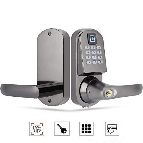 Elektronisches Türschloss, Biometrischer Fingerabdruck/Numerisches Passwort/Card/Mechanischer Schlüssel Intelligentes 4 in 1 Türschloss für Familie/Büro