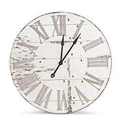 K&K Interiors 13570A 36 Inch Round Antique White Wood Wall Clock W/Roman Numerals
