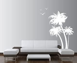 Innovative Stencils 1132 84 mwhite mirror Palm Coconut Tree Nursery Wall Decal with Seagull Birds, White