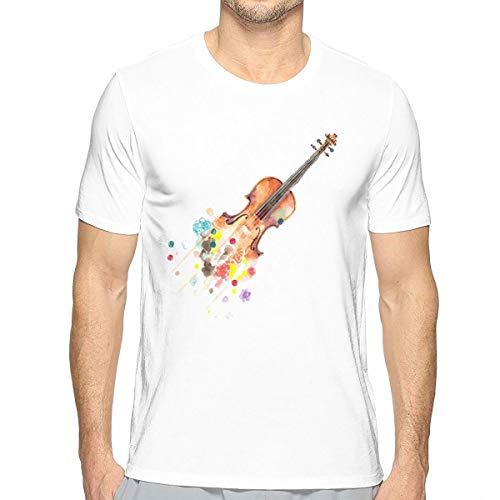 Heren Korte Mouw Effen Crew Neck T-Shirt Kisspng Viool Tekenen Aquarel Schilderen Muziek Cello Creatieve Gitaar #2
