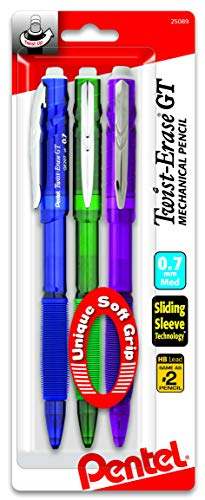 Pentel Twist-Erase GT (0.7mm) Mechanical Pencil, Assorted Barrel Colors, Color May Vary, Pack of 3 (QE207BP3M)