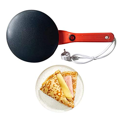 WZJN Crêpière électrique antiadhésive pour Le Petit déjeuner, Machine à Pizza Cuisson crêpes Plaque chauffante poêle Anti-brûlure poêles Frites,Rouge