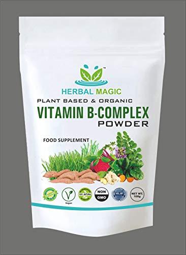 Herbal Magic's Pesticide Free Vitamin B Complex Powder - B1+ B2+ B3+ B12+ Folic Acid Vegan Fruit & Vegetables Pure Mix - Immunity Hair & Skin Vitamins Minerals