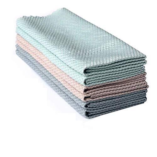 Delaspe Reinigungstuch, 3 Stück, spezielles Fischschuppen-Lappen für die Küche, Ölentfernung, saugfähig, fusselfrei, Handtuch für Zuhause