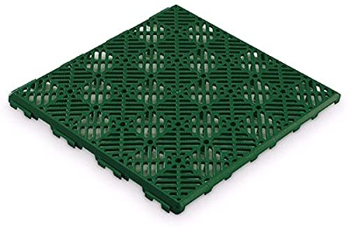 Pack 12 losetas plastico antihumedades para Suelos autoventiladas 30X30x1.5cm (Verde)
