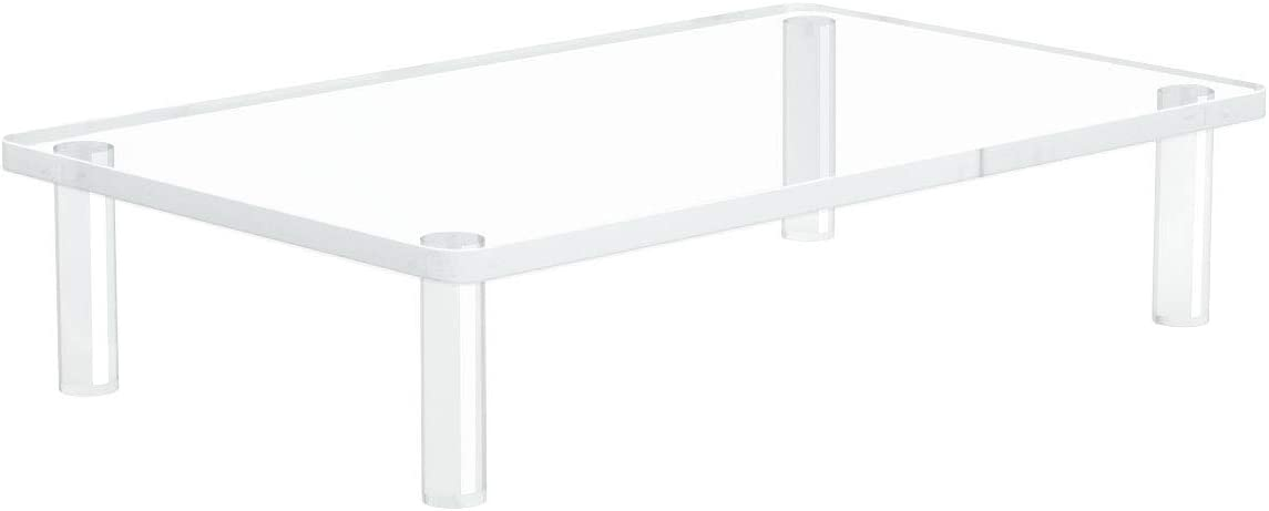 Acrylic Monitor Stand Riser Holder, Screen and Laptop Stand for Desk Perfect for a TV or PC Computer Monitor, Office Desk Shelf, Clear 15.4x9.7 Inch