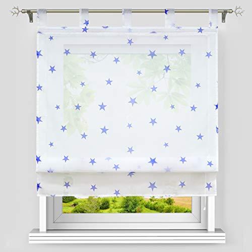 Heichkell Estor de gasa con estampado de estrellas, transparente, con trabillas, estrellas, para habitación infantil, 80 x 140 cm, color blanco y azul