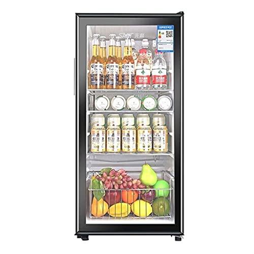 Refrigerador de Vino 165L, Bodega Independiente, sirviendo Rojo, Blanco, Vino, Cerveza y Bebidas Brillantes.Barra de Hielo, Puerta de Cristal Templado. (Color : Black, Size : 44.5 * 50 * 94.3cm)