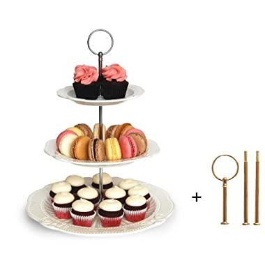 Interchangeable 2 or 3 Tier Cake Cupcake Dessert Display Stand - Perfect for Entertaining - Elegant Serving Platter Includes Silver and Gold Hardware