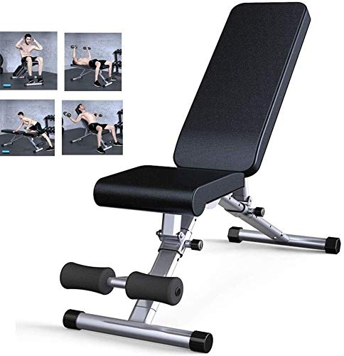 TGFVGHB Silla de fitness multifuncional para el hogar, equipo de fitness, taburete de peso profesional, equipo de entrenamiento abdominal, plegable, color negro, tamaño: 129 x 46 x 117 cm