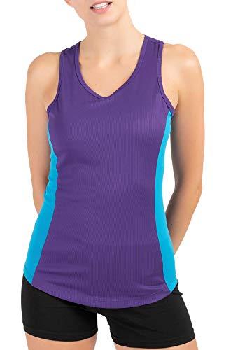 Mivaro Damen Sport Tank Top Basic Sport-Shirt für Fitness | schnell trocknend | Funktions-Shirt, Größe:L, Farbe:Lila/Blau