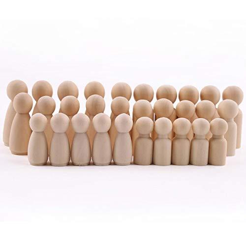 baby tete 60Pcs Poupées de poupées familiales (55mm-35mm) Personnes en bois inachevées Grandes poupées de poupées familiales Famille en bois Bricolage Artisanat Jouets pour bébés