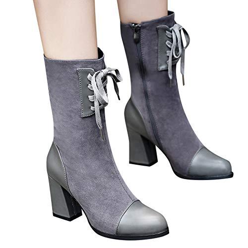 Hffan Damen Elegant Winterstiefel High Heels Wildleder Damenschuhe Stiefeletten Lederschuhe Modisch Boots Lederstiefel Blockabsatz Mode Stiefel mit Blockabsatz(Grau,36EU)