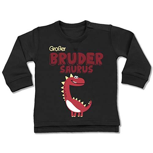 Shirtracer Geschwisterliebe Baby - Großer Brudersaurus - 12/18 Monate - Schwarz - Geschenk - BZ31 - Baby Pullover