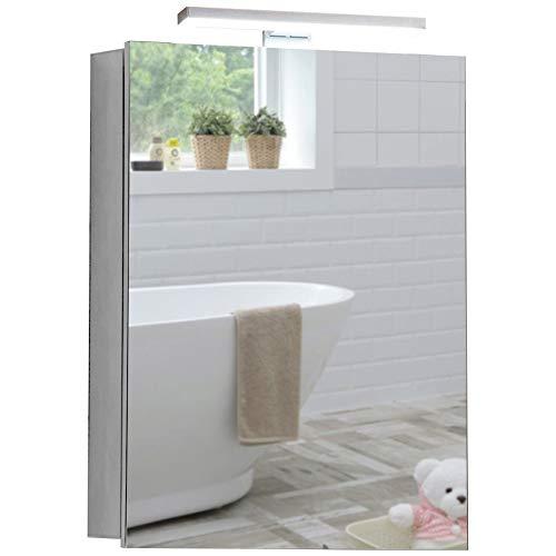 Armoire de toilette pour salle de bain avec lampe LED sur le dessus, antibuée, prise pour rasoir, détecteur de mouvement 70cm(H) x 50cm(l) x 15cm(P) C25