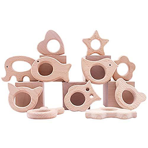 Promise Babe 11pc Baby Hölzerne Kinderkrankheiten Animal Fish Krankenpflege Spielzeug Organisches Holztier Kleinkinder Beißring Set Duschgeschenk Montessori Spielzeug