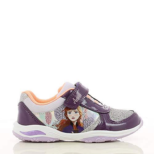 Disney Frozen Kinderschuhe Mädchen, Sportschuhe für Kinder mit ELSA und Anna Aufdruck, LED Licht Sohlen und Klettverschluss, Turnschuhe, Laufschuhe, Sneaker für Girls und Teenager, lila EU 25