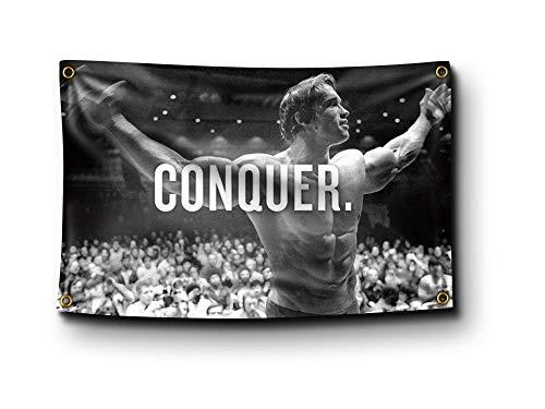 Banger – Arnold Schwarzenegger Conquer motivierende inspirierende Büro-/Fitnessstudio-Wanddekoration, 90 x 150 cm
