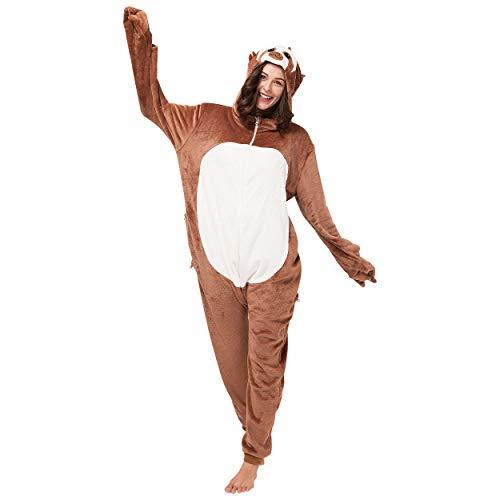 corimori (Henry das Faultier Damen & Herren Onesie Jumpsuit Kostüm Gr. 180 - 190cm, Braun-Creme