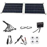 LFDD Kit De Panel Solar Batería Solar 30W Cargador De Goteo + Cocodrilo Clip + Cable De Carga De Automóvil + 1 Arrastre 10 Cable De Carga + Mosquetón + Ventosa