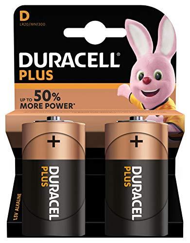 Duracell LR20/ MN1300 Plus Power Typ D Alkaline Batterien, 2er Pack