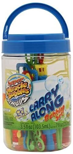 Super Miracle Bubbles Premium Carry Along Bubble Set 26 Pieces in Carrying Bucket by Imperial Toy