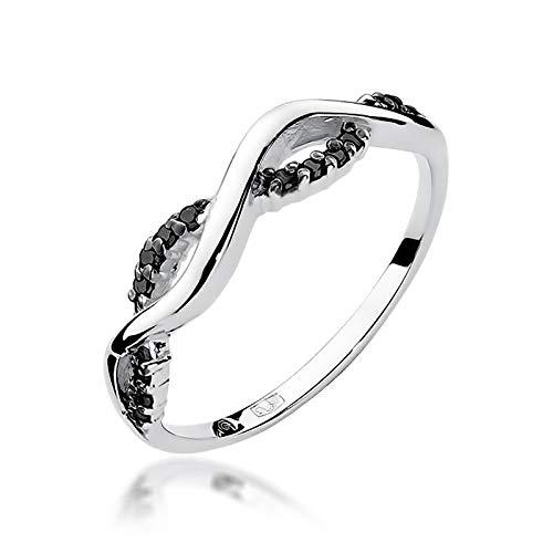 Damen Versprechen Ring Verlobungsring Antragsring 585 14k Gold Weißgold natürlicher echt Schwarze Diamanten Brillanten