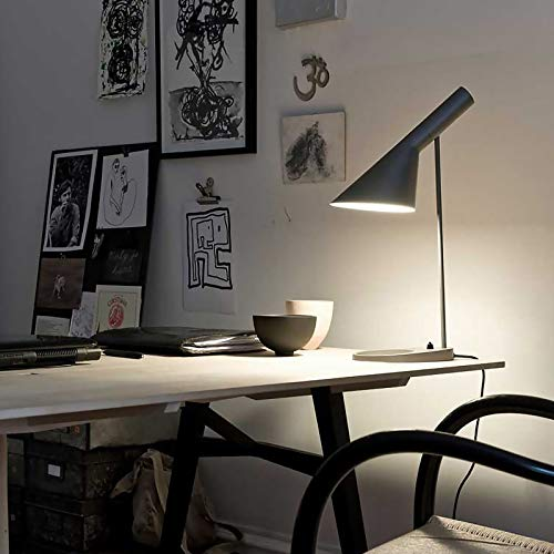 XJY E27 Lámpara de Mesa Vintage Negro Pequeño Iluminación de Mesa Estudio Lámpara de Oficina Creativo Decorativo Lampara de Lectura Hotel Lámpara de Noche Fácil Diseño Lámpara de Escritorio,Negro,A