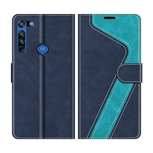 MOBESV Handyhülle für Motorola Moto G8 Hülle Leder, Motorola Moto G8 Klapphülle Handytasche Hülle für Motorola Moto G8 Handy Hüllen, Modisch Blau
