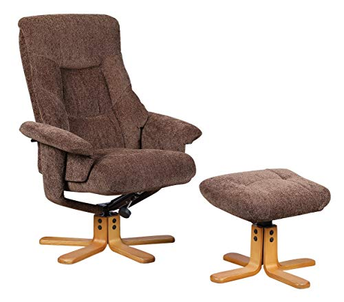Oriental Leather Co Ltd Shangri La Chenille Fabric Swivel Recliner Chair & Footstool In Chocolate/Cherry