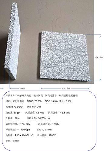 Yagoer ZZY-Conditioner Parts, 30ppi Honeycomb Ceramic, 140mm Espuma Cerámica, Filtro Cerámico Alúmina Fundida Resistente a Alta Temperatura