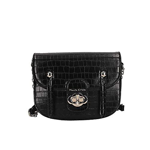 MANILA GRACE borsa tracolla Poppy stampa cocco nera B232