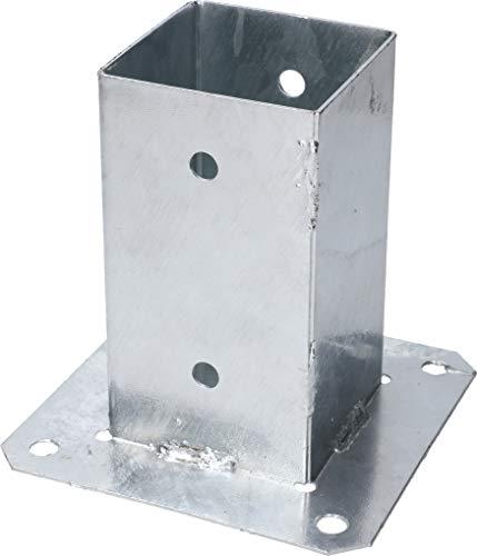 KOTARBAU® Aufschraubhülse 80 x 80 mm Vierkantholzpfosten Pfosten Bodenhülse Zaunträger Hülse Feuerverzinkt Bodenplatte Pfostenträger Anker