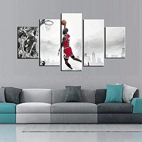 cuadro en lienzo impresión de 5 piezas - Enmarcado y listo para colgar Michal Jorda jugador de baloncesto decoración del hogar obras de arte 150x80cm