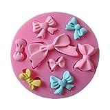 Allforhome 8 cavidades mini lazos de silicona molde para fondant azucarero manualidades moldes DIY decoración de pasteles