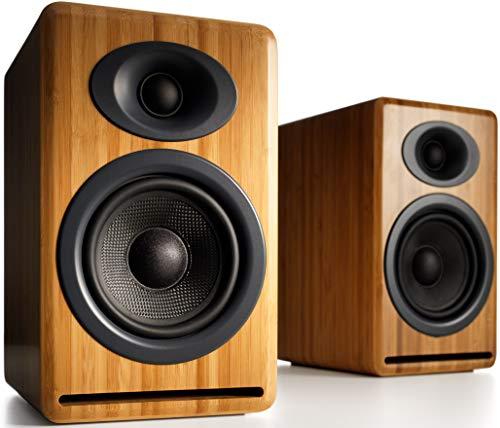 Audioengine P4 Passive Speakers Bookshelf Speakers Pair | Home Stereo High-Performing 2-Way Desktop Speakers | AV Receiver or Integrated Amplifier Required (Bamboo)