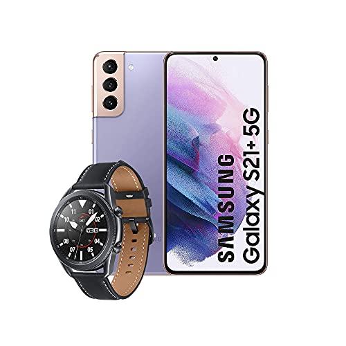 Samsung Smartphone Galaxy S21+ 5G de 128 GB con Sistema Operativo Android Color Violeta + SM-R840NZKAEUB Galaxy Watch3 - Reloj Inteligente de 45 mm, Bluetooth, Acero, Color Negro, [Versión española]